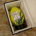 Iris flower Glass inside Reverse Hand painting Glass Egg with Stand Fitted Box