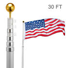 30FT Flag Pole Telescopic Aluminum Flagpole Gold Ball Kit Fly 2 Flags Adjust USA