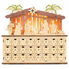 LED Nativity Countdown Natural 12 x 11 Wood Christmas Holiday Advent Calendar