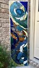 Stained Glass Mosaic Window Abstract Contemporary Panel OOAK