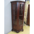 Solid Mahogany Hand Carved Curved Front Glass Door Corner Display Cabinet