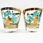 Two Mid Century Modern Fred Press Turquoise Trojan Low ball Glasses. EUC.