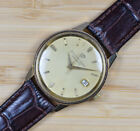 Vintage GIRARD PERREGAUX Gyromatic Automatic Gold Plated Date Mens Watch Leather