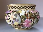 c1890 Antique Zsolnay Pecs Reticulated Pierced Faience Pottery Vase, Majolica