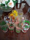Vintage juice glasses Hand Painted 10 Mixed patterns various colors.