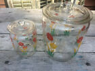 2~VINTAGE ANCHOR HOCKING RED YELLOW TULIPS GLASS CANISTERS BISCUIT GREASE JARS