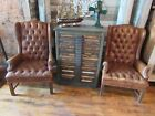 Vintage 2 Chippendale Brown Wingback Chairs Tufted Button Furniture not Leather