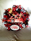Handmade Ribbon Tulle Mesh Christmas Wreath with Vintage Metal Red Truck Red