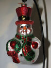 Christopher Radko Xmas Ornament Jovial Roly Poly Snowman Top-Hat Scarf Wreath