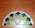 Beautiful Green Half Moon Beveled Stained Glass Window Panel