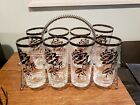 Silver Rimmed highball Glass Set Of 8 Dorothy Thorpe With Caddy