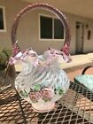 FENTON BASKET FRENCH OPALESCENT SPIRAL OPTIC DUSTY ROSE CREST MUSEUM COLLECTION