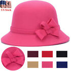 Women Lady Hat Vintage Wool Round Fedora Bow Cloche Derb Felt Bowler Cap Winter