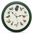 Wild Game Bird Sound Hunter Green 13 inch Acrylic and Glass Wall Clock