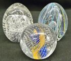 Lot of 3 Vintage Art Glass Paperweights Multi Color Lines Ribbons w Bubbles