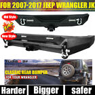 New Style Rear Bumper w D Ring 2 Receiver LED light For Jeep Wrangler JK 07 18