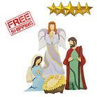 Outdoor Christmas Decoration Nativity Scene With Angel Yard Decor Metal 4 Pcs