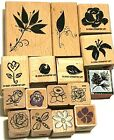 15 WOOD MOUNT RUBBER STAMPS FLOWERS GARDEN PLANTS BLOOMS ROSE LEAF DAISY LILY