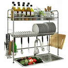 Sink Dish Drying Rack Cup Drainer Shelf Stainless Kitchen w Cutlery Holder Tray
