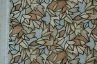 tan black beige stained glass leaves leaf floral cotton quilt fabric RARE