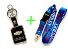 2 in 1 Combo CHEVROLET CHEVY Blue Lanyard and Black Leather Key Chain