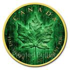 2019 Digital Rain Matrix 1 oz Canada Maple Leaf Silver Coin - Gold Gilded