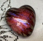Robert Held Label Dichroic Iridescent Purple Heart Art Glass Paperweight Canada