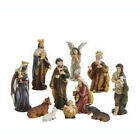 Natural Wood Look Brown Nativity 3 inch Resin Tabletop Figurine 11 Piece Set