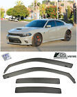 For 11 20 Dodge Charger IN CHANNEL SMOKE TINTED Side Window Visors Rain Guards