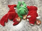 Ty Beanie Baby Lot Of 3.  Frog Cow Lobster