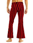 Mens Casual Vintage Slim Fit Striped Stretch Zipper Flares Long Pants Trousers