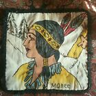 Vintage RARE Native AMERICAN Indian Maiden Vogart Embroidered Tinted Pillow Case