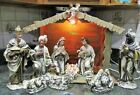 Beautiful Vtg Large 12 Scale Paper Mache Nativity 10 Pcs  Manger MADE IN JAPAN