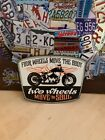 MOTORCYCLE TWO WHEELS MOVE THE SOUL HEAVY EMBOSSED METAL SIGNN BIKER DEALER SHOP