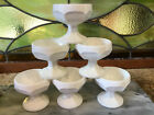 Set Of Six (6)Vintage Paneled Milk Glass Footed Sherbet Dessert Dishes
