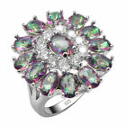 Awesome Huge Rainbow Topaz White Topaz Ring 925 silver size 8