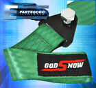 God Snow Jdm Euro Recovery Towing Tow Hook Rope Strap Bumper Front Rear Green