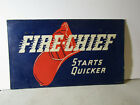 1936 VINTAGE FIRE-CHIEF STARTS QUICKER DOUBLE SIDED HANGING SIGN TEXACO