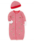 LITTLE ME Boys My First Christmas Red Stripe Gown & Beanie, Teddy Bear, NWT!