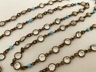 Vintage Antique Art Deco Crystal Turquoise Glass Open Back Bezel Set Necklace