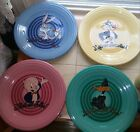 Retired Rare Warner Brothers 4 Piece Fiestaware Dinner Plates Amazing!