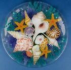 Signed Peggy Karr Fused Glass Fish Plate Seashells Round Platter