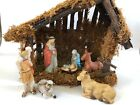 Nativity Crche Ceramic Porcelain Figurines Wooden Manger Christmas Vintage