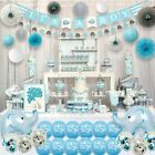 Blue Elephant Baby Shower Decorations for Boy Party Supplies Kit with
