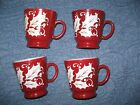 4 Vintage Punch Mugs Cups Christmas Deep Red Holly Egg Nog Replacement