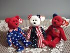 3 Piece Ty Beanie Baby Patriotic Red White And Blue - Liberty, America