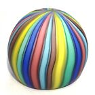 Murano Art Glass Round Paperweight Multicolored Striped Matte Satin Yellow Blue
