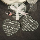 25 72 Heart Shaped Glass Coaster Set Of 2 Wedding Shower Party Favors