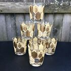 Vintage Low Ball Glasses Mid Century 1950s Gold Barware Lot Set 7 Cocktail Libby
