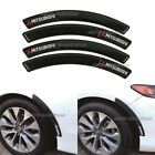 4Pcs MITSUBISHI Rubber Carbon Fiber Car Wheel Eyebrow Fender Arch Trim Stickers